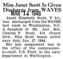 Miss Janet Scott Is Given Discharge from WAVES