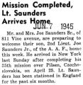 Mission Completed, Lt. Saunders Arrives Home