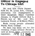 Officer Is Engaged to Chicago Girl