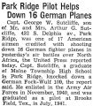 Park Ridge Pilot Helps Down 16 German Planes