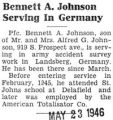 Bennett A. Johnson Serving in Germany