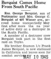 Berquist Comes Home From South Pacific