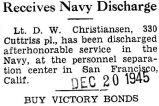 Receives Navy Discharge