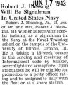 Robert J. Blessing Will Be Signalman in United States Navy