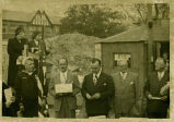 Photograph of the ceremony for the laying of the cornerstone for the Park Ridge Community Church