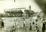 Photograph of Hinkley Pool looking towards a grandstands taken circa 1929