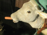Photograph of a funny cow sculpture in Kelly's Meat Market window in Park Ridge, Illinois.