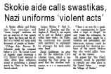 Skokie aide calls swastika, Nazi uniforms 'violent acts'