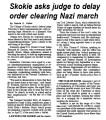 Skokie asks judge to delay order clearing Nazi march