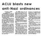 ACLU blasts new anti-Nazi ordinances