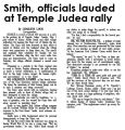 Smith, officials lauded at Temple Judea rally
