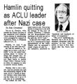 Hamlin quitting as ACLU leader after Nazi case