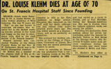 Dr. Klehm obituary, page 1