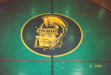 "Niles East High School Gymnasium Floor ""Trojan"" Photograph, 1993"