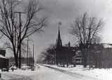 Oakton Street West from Lincoln Avenue in Winter Photograph, 1905