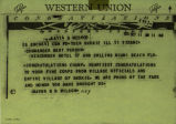 Western Union Telegram to Skokie Indian Drum and Bugle Corps from Skokie Mayor George D. Wilson