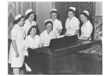 Students enjoy music in the Nurses' Home Lounge