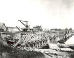 Railroads, Sterling, Illinois, The Pioneer, First Train in Sterling, crossing on trestle,...