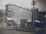 Sterling, Illinois Street Scenes, Buildings, Carriages & coaches, Locust Street & West 3rd...