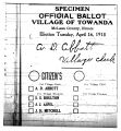 Newspaper copy of specimen ballot for Village of Towanda in 1918
