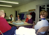 Photograph of the Towanda Homemakers Extension Association meeting with Erlma Kraft