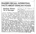 Newspaper article on Duncan Mansion - 1941