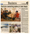 Newspaper article on Shoemaker Cafe closing at Towanda