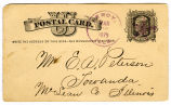1879 Postal card announcing safe arrival home