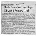 1959 Newspaper article regarding the teaching of evolution discussion by Unit 5 Board of Education