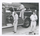 Fire Fighters Inspecting Fire Engine, Fort Sheridan