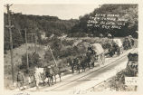 3rd F.A. Wagon Train Coming Down Sauk Bluff, Wis. on McCoy Hike