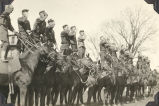 Soldiers Saluting While Standing on Horseback